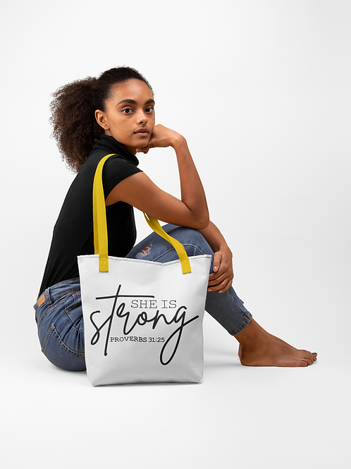 She Is Strong Proverbs 31:25 Tote bag