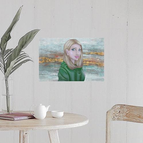 Digital Stylized Portrait + Foam Print