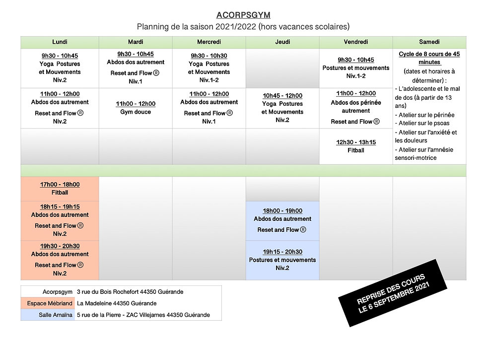 Planning Acorpsgym rentrée 2021