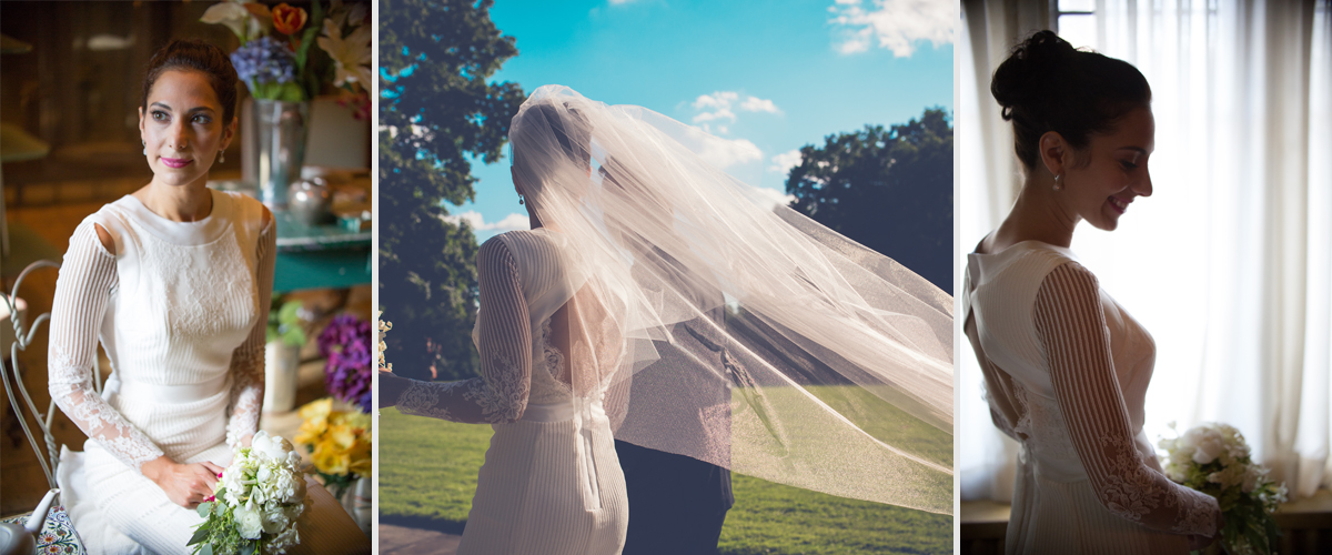 Bridal lace dress with veil