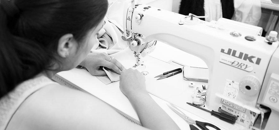 Tanya Dimitrova Sampling and Production - dressmaker at the sewing machine