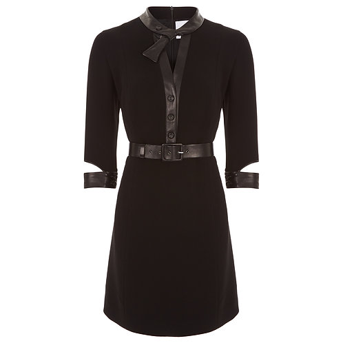 The Marvel - Wool Blend Smart Shift Dress 3/4 Sleeves V - Neck tie detail