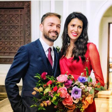 Laura Lijo wearing her custom-made wedding dress
