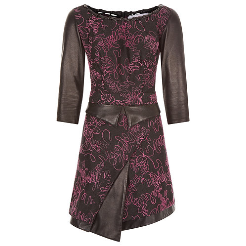 The Serendipity - Aline Dress in Black with Fuchsia Lace, Leather Belt