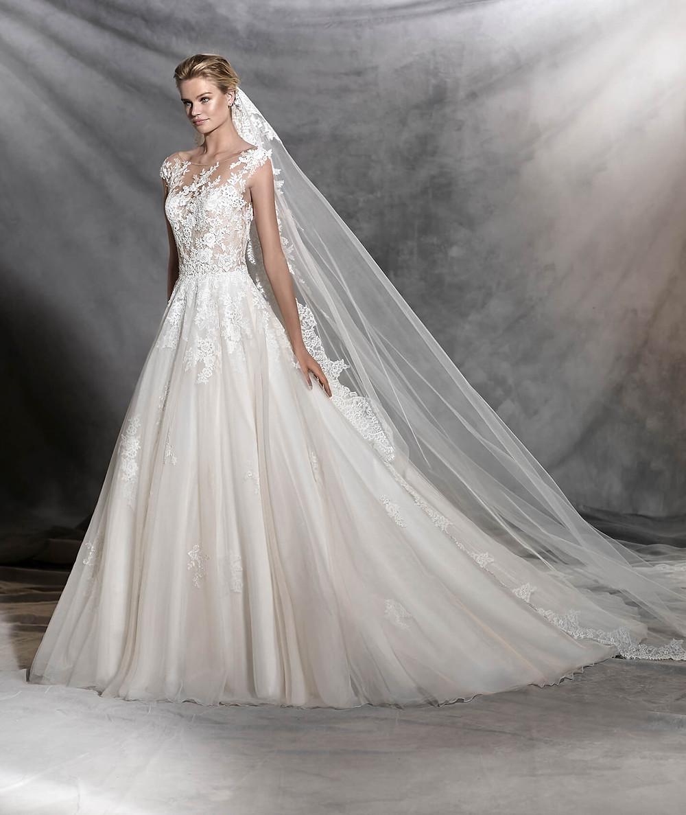 Bride wearing Pronovias long veil