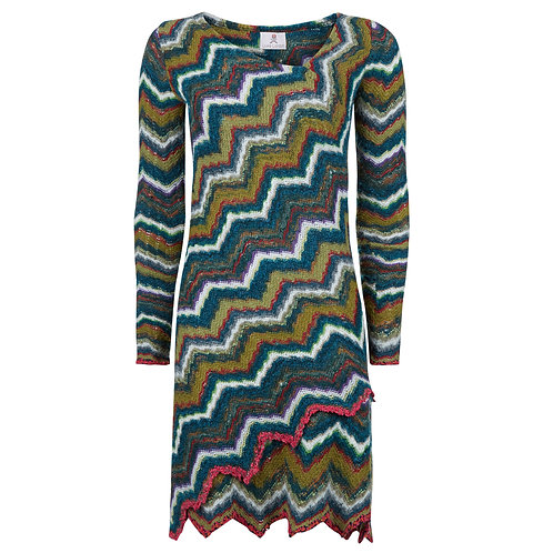 The Elysian - Zig Zag Knitted Wool Shift Dress Knee Length Long Sleeves Multi