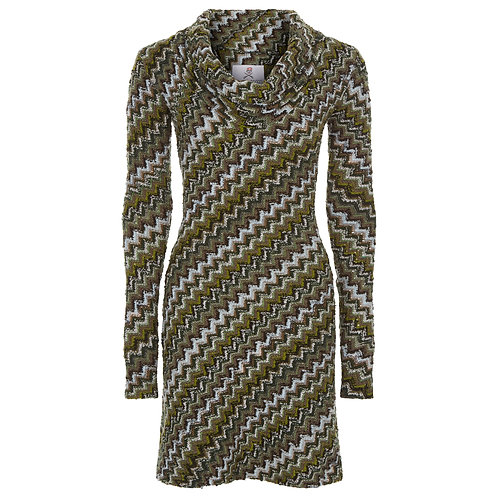 The Noor - Long Sleeve Knitted Wool Shift Dress in Military Green