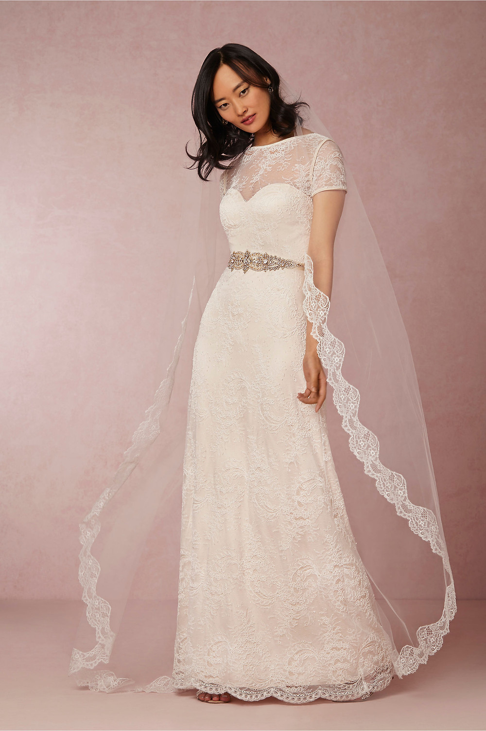 Bride wearing a chapel length veil