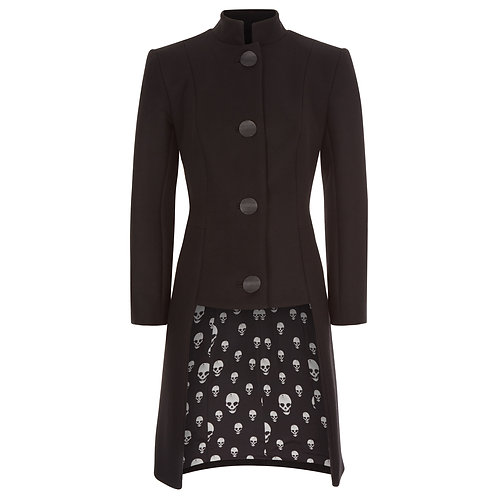 The Oblivion - Women's Tailored Coat in Black with Skulls Lining