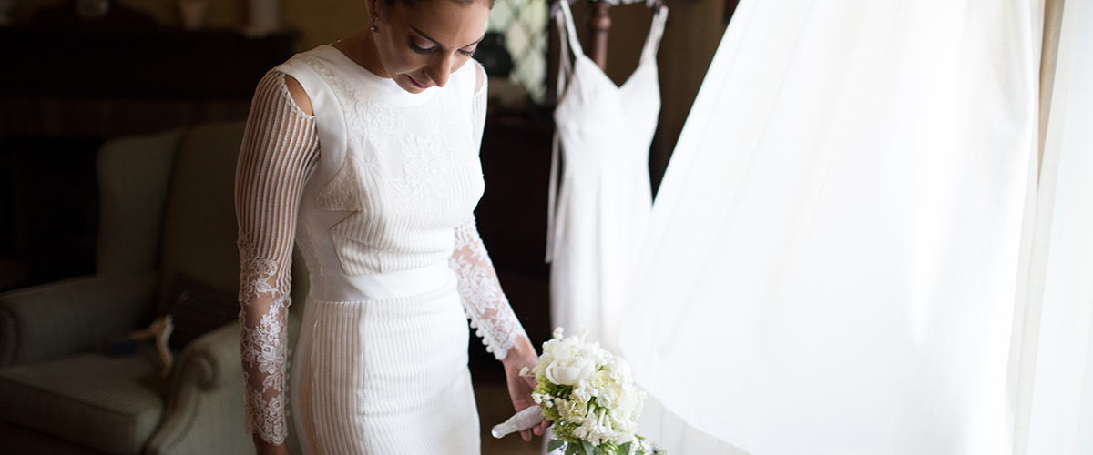 Bridal lace and silk dress