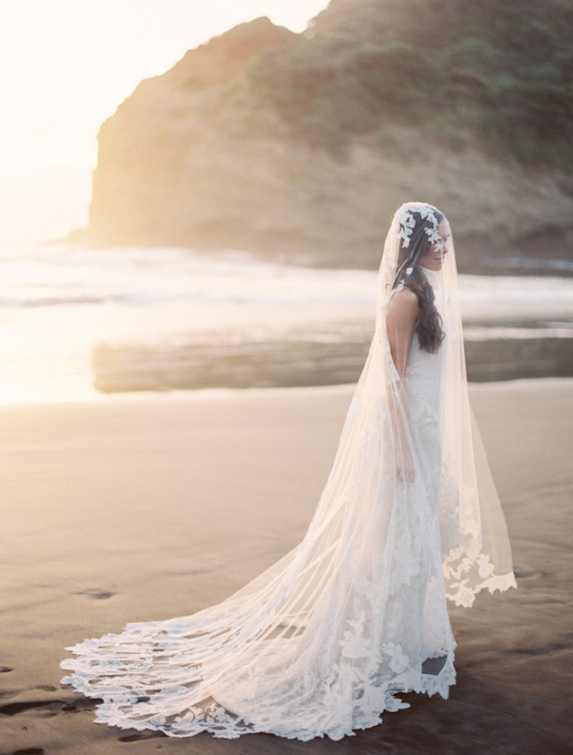 Bride wearing a cathedral length veil