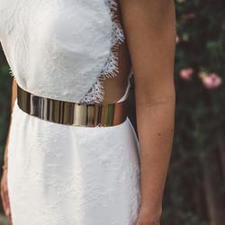 All lace sheath bridal gown w/belt