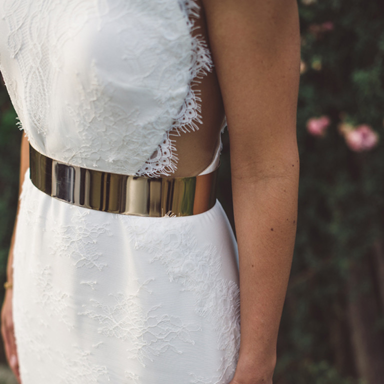 Lace Wedding Dress With Gold Belt