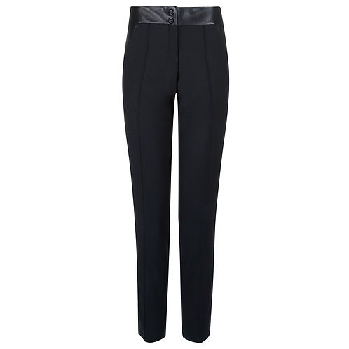 The Opulent - 80s Inspired Tailored Straight Cut Trousers Black Leather Detail