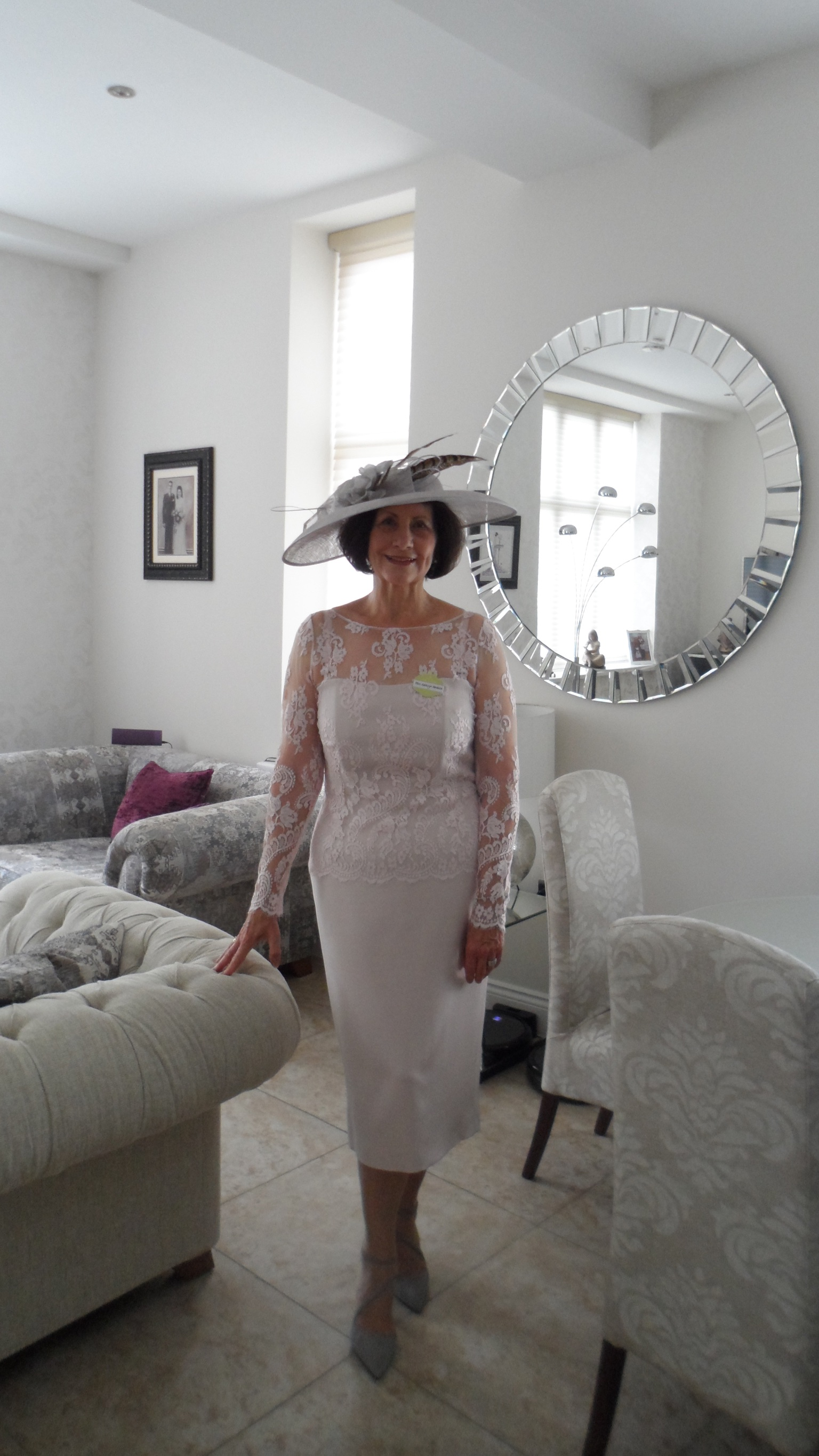 bride hat and dress