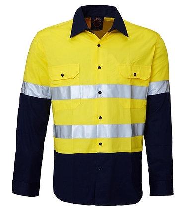 Ritemate Vented Reflective Work Shirt Yellow/Navy