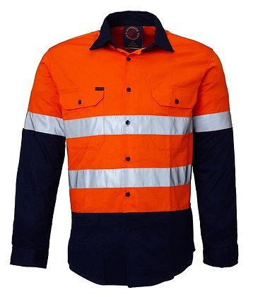 Ritemate Reflective Work Shirt Orange/Navy