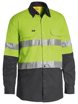 Bisley X AIRFLOW™ Taped Hi Vis Ripstop Shirt Lime/Charcoal