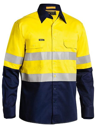 Bisley Taped Hi Vis Industrial Cool Vented Shirt Yellow/Navy
