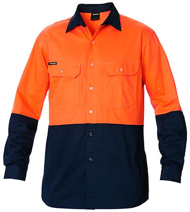 King Gee Basic Hi Vis Work Shirt Orange/Navy