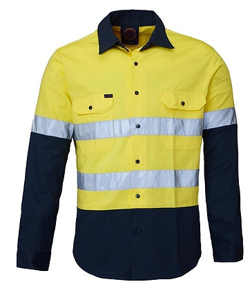 Ritemate Reflective Work Shirt Yellow/Bottle