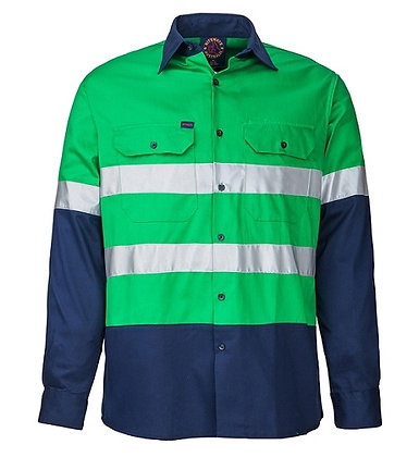 Ritemate Reflective Work Shirt Green/Navy