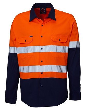 Ritemate Vented Reflective Work Shirt Orange/Navy