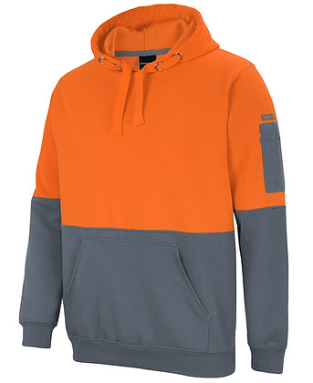 Hi Vis Pull Over Hoodie Orange/Grey