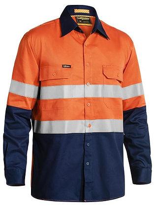 Bisley Taped Hi Vis Industrial Cool Vented Shirt Orange/Navy