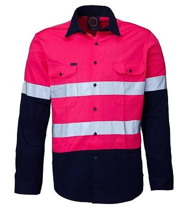 Ritemate Reflective Work Shirt Pink/Navy