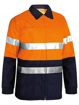 Bisley Taped Hi Vis Drill Jacket Orange/Navy