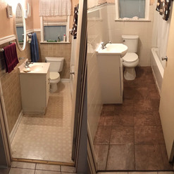 before and after small bath remodel