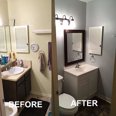 before and after half bathroom remodel