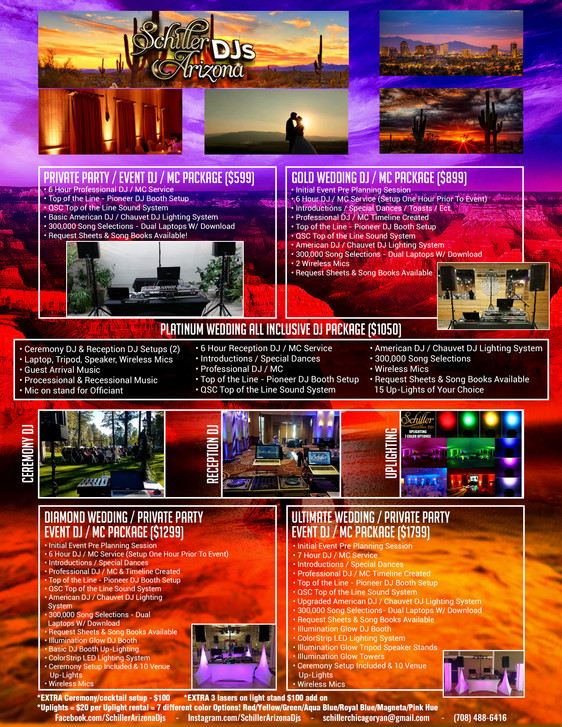 Schiller Arizona Packages & Services Menu!