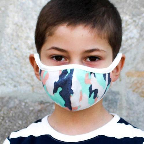 Kids Youth Unisex Mint Camo Double Layer Soft Cotton Blend Face Mas