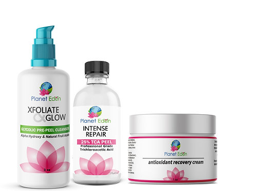 25% TCA Skin Facial Peel- Glycolic Pre-Peel Cleanser + Recovery Cream Kit