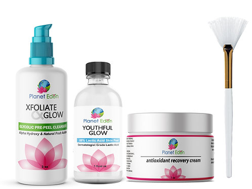 Planet Eden Lactic Acid Peel Kit &  Glycolic Pre-Peel Cleanser and Recovery Crea