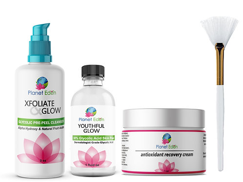 Planet Eden Glycolic Acid Peel Kit & Glycolic Pre-Peel Cleanser & Recovery Cream