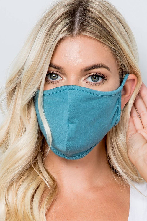 Denim Blue Double Layer Soft Cotton Blend Face Mask