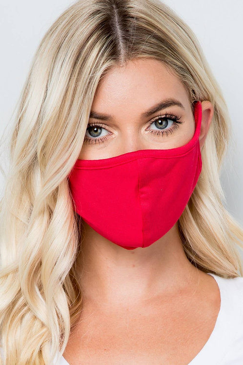 Coral red Double Layer Soft Cotton Blend Face Mask