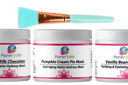 Milk Chocolate , Pumpkin Pie and Vanilla Bean Frosting Mask Trio
