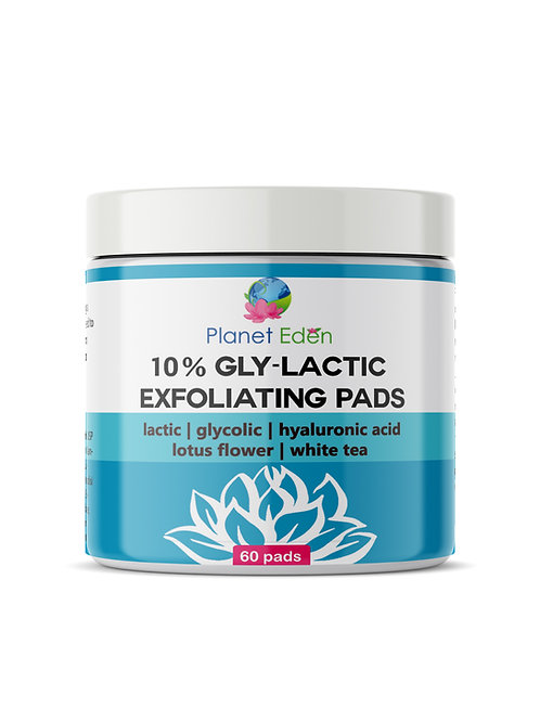 Planet Eden 10% or 20% Gly-Lactic Glycolic & Lactic Acid Skin Exfoliating Pads