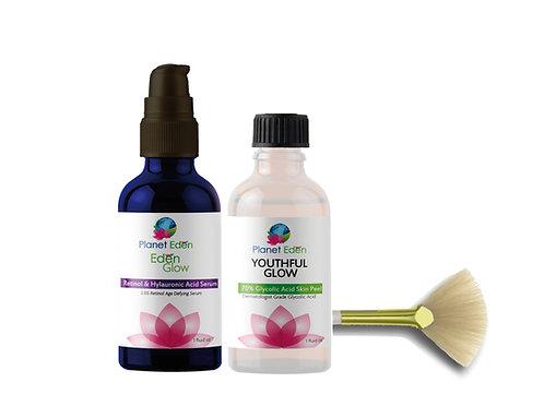 Planet Eden Glycolic Acid Skin Peel with Retinol Hyaluronic Acid Serum