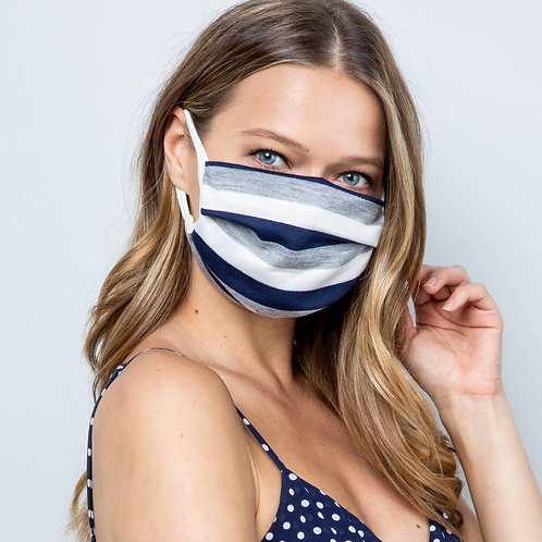 Gray Navy Stripe Unisex Double Layer Soft Cotton Blend Face Mask