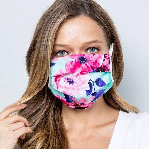 Mint Floral Double Layer Soft Cotton Blend Face Mask