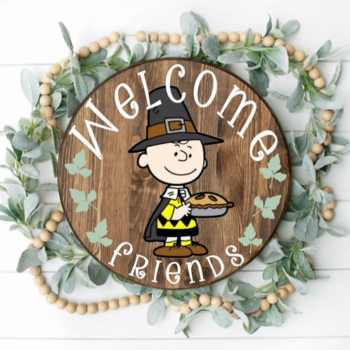 DIY: Charlie Brown Welcome Friends Door Round (Starting at $35.00)