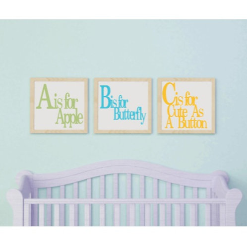 DIY: ABC 3 PC Nursery Set (Starting at 25.00)