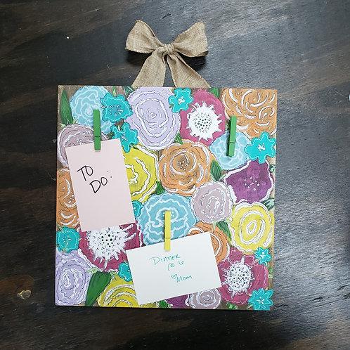 Wood Floral Bouquet Picture/Memo/Clip board (10x10)