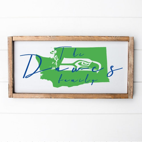 CUSTOM State/Sports Mascot w/Surname Wood Sign (Starting at $30.00)