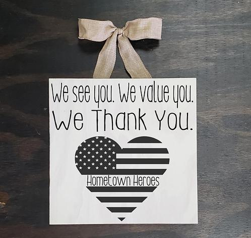 Grab & Go: Hometown Heroes Door Sign